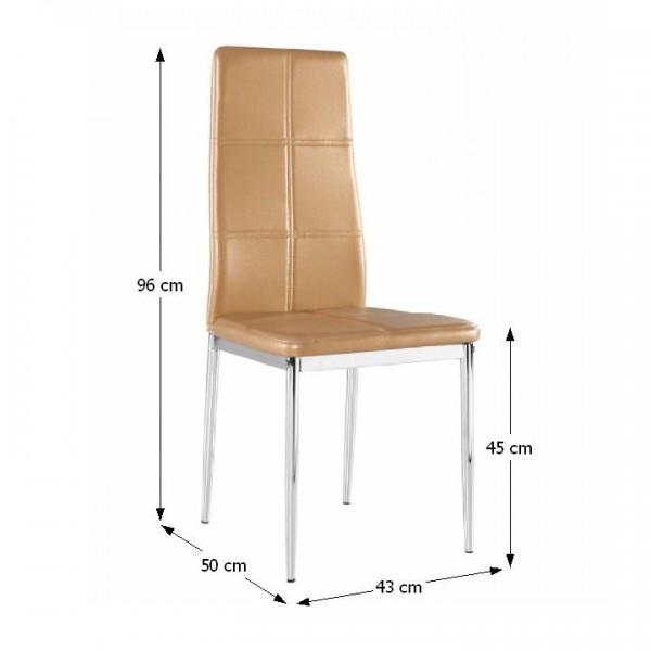 Stolička, ekokoža svetlohnedá/chróm, LERA