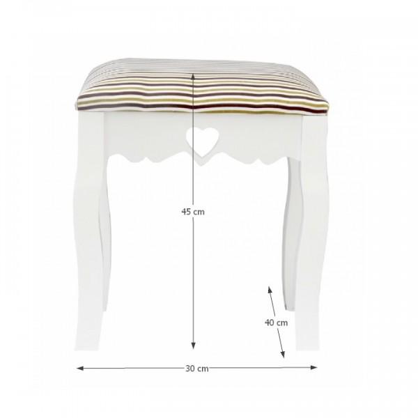 TEMPO KONDELA Taburet, biela/pásikavý vzor, WAGNER 1