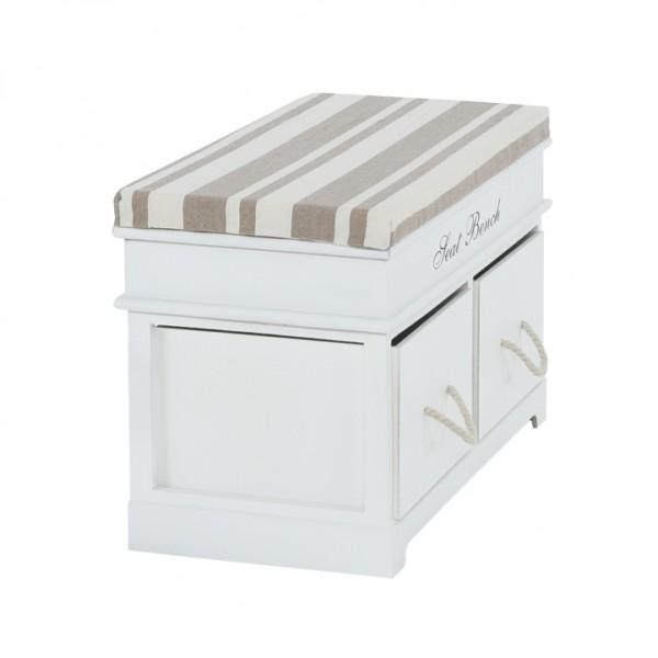 Lavica s vankúšom, 2 šuplíky, biela/svetlohnedá, SEAT BENCH 1 NEW