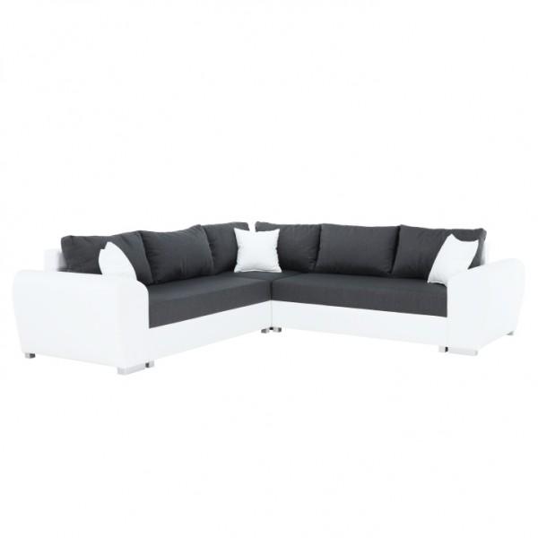 TEMPO KONDELA Rohová sedacia súprava, biela/tmavosivá, pravá, BERYL