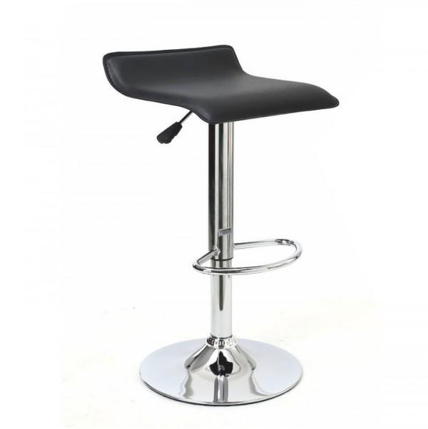 TEMPO KONDELA Barová stolička, ekokoža čierna/chróm, LARIA