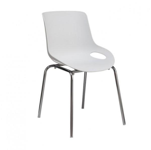 TEMPO KONDELA Jedálenská stolička, biela/chróm, EDLIN