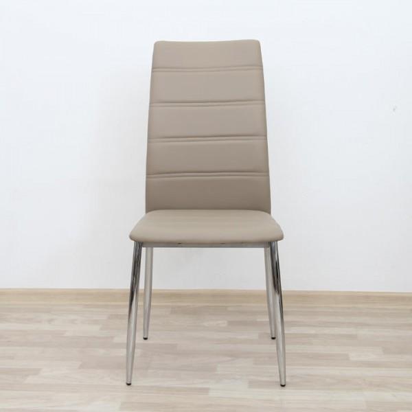 TEMPO KONDELA Jedálenská stolička, ekokoža hnedá/chróm, DELA