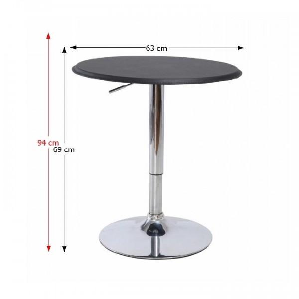 TEMPO KONDELA Barový stôl s nastaviteľnou výškou, čierna, BRANY
