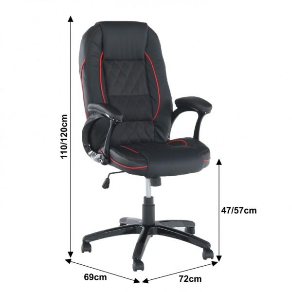 TEMPO KONDELA Kancelárske kreslo, ekokoža čierna/červený lem, PORSHE