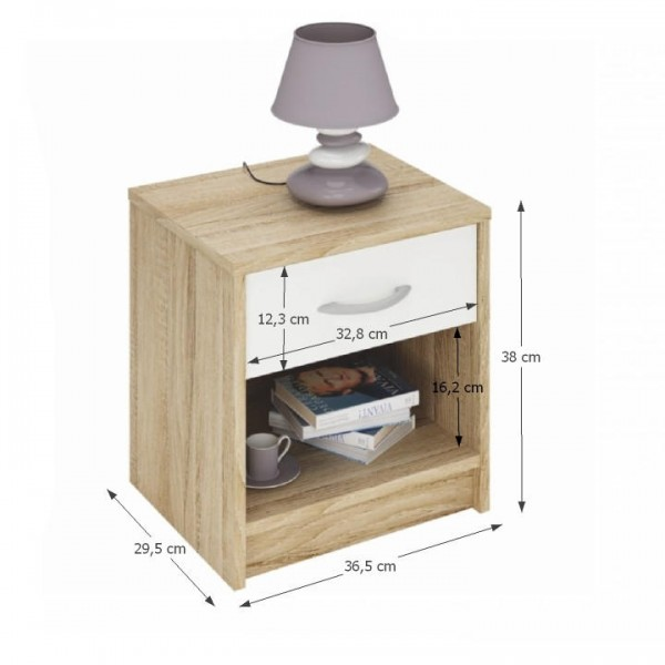 Nočný stolík, dub sonoma/biela, BISI 163755