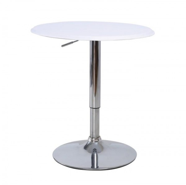 TEMPO KONDELA Barový stôl s nastaviteľnou výškou, biela, BRANY