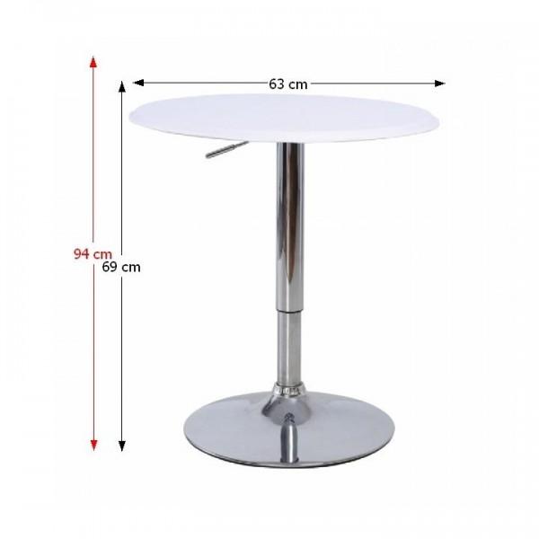 Barový stôl s nastaviteľnou výškou, biela, BRANY