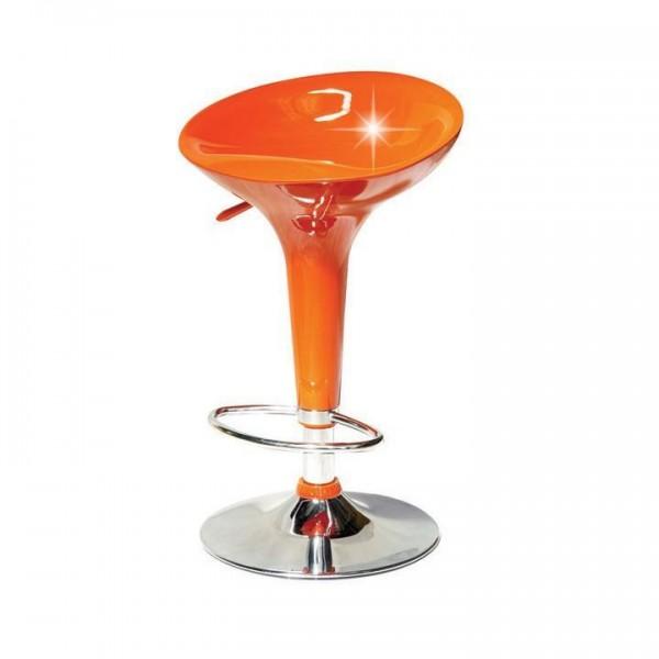 Barová stolička, oranžová plast/chróm, INGE NOVA
