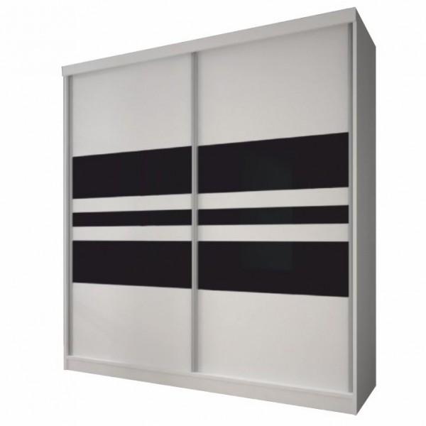 TEMPO KONDELA Skriňa s posuvnými dverami, biela/čierne sklo, 183x218, MULTI 11