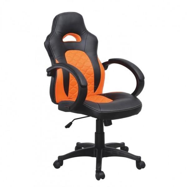 TEMPO KONDELA Kancelárske kreslo, ekokoža čierna/oranžová, NELSON