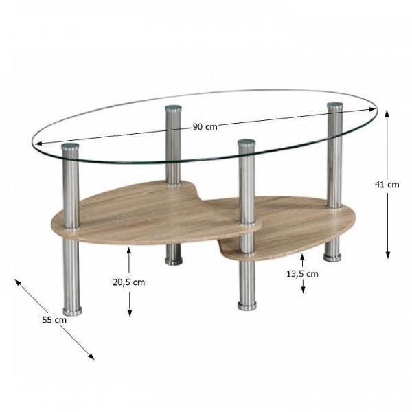 Konferenčný stolík, oceľ/číre sklo/dub sonoma, PANTY NEW