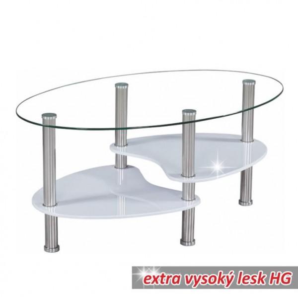TEMPO KONDELA Konferenčný stolík, oceľ/sklo/biela extra vysoký lesk HG, AXEL NEW