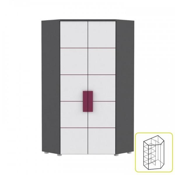 TEMPO KONDELA Skriňa rohová kombinovaná, sivá/biela/fialová, LOBETE 89