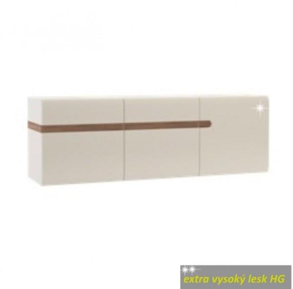 TEMPO KONDELA Visiaca skrinka, biela extra vysoký lesk HG/dub sonoma tmavý truflový, LYNATET TYP 67