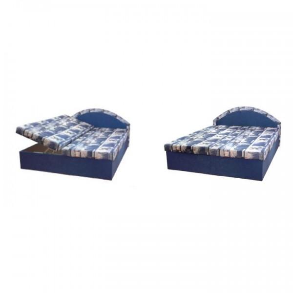 TEMPO KONDELA Manželská posteľ, pružinová, modrá/vzor, EDVIN 7