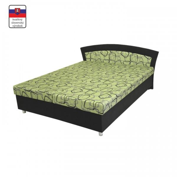 TEMPO KONDELA Manželská posteľ s úložným priestorom, molitánová, čierna - zelená, BRIGITA