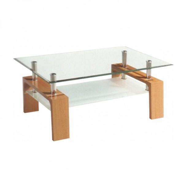 TEMPO KONDELA Konferenčný stolík, buk/sklo, LIBOR NEW