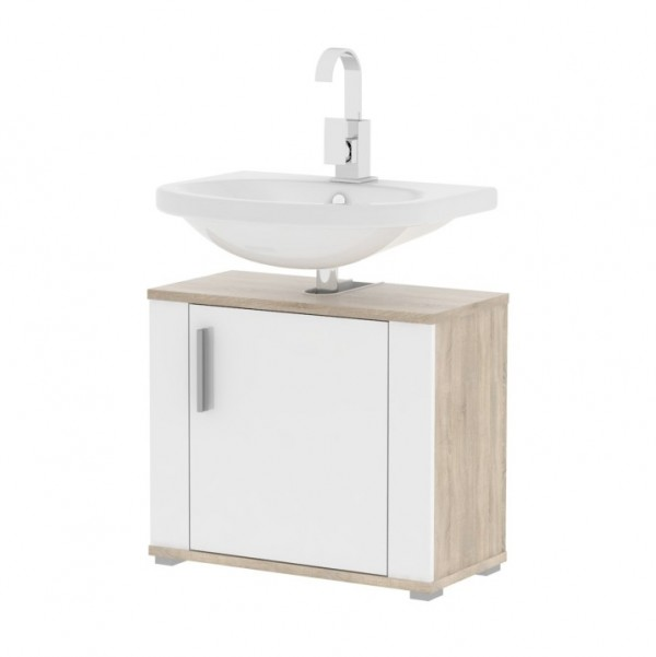 TEMPO KONDELA Skrinka pod umývadlo, biela pololesk/dub sonoma, LESSY LI 02