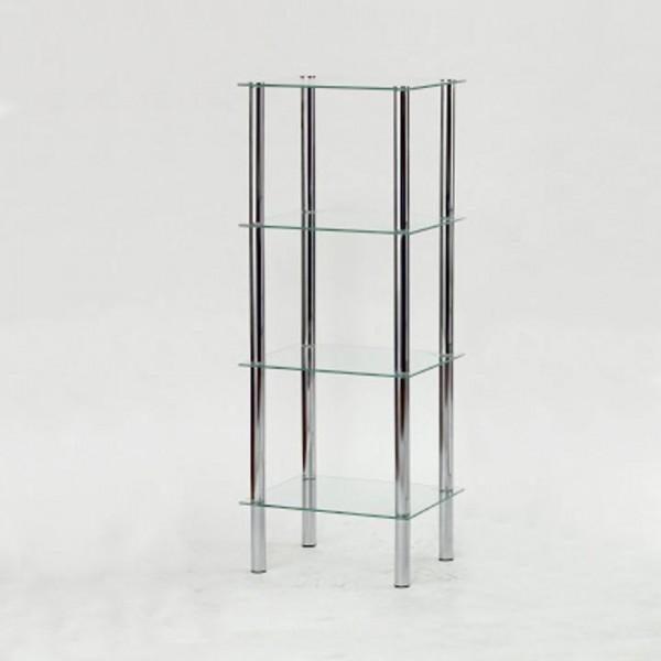 Regál, so štyrmi poličkami, chróm / číre sklo, FREDDY 3