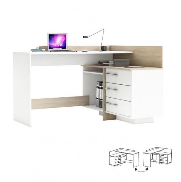 TEMPO KONDELA PC stôl, univerzálny, dub sonoma/biela, TALE 484881