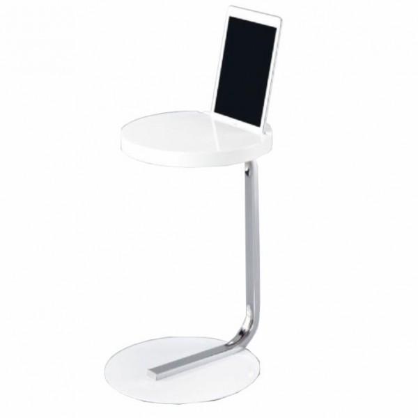 Príručný stolík na tablet, biela lesk, MILANA