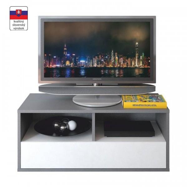 TEMPO KONDELA RTV stolík, sivá grafit/biela, MARSIE M13