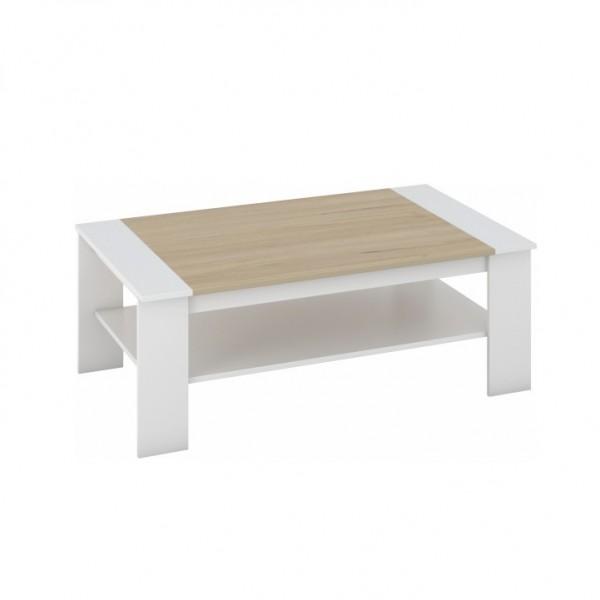 TEMPO KONDELA Konferenčný stolík, biela/dub sonoma, BAKER