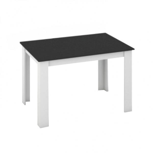 TEMPO KONDELA Jedálenský stôl, biela/čierna, 120x80, KRAZ