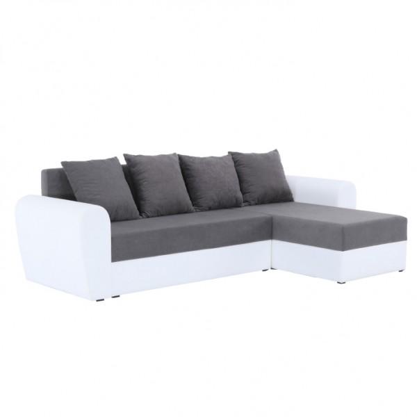 TEMPO KONDELA Rohová sedacia súprava, biela ekokoža/sivá látka, OXFORD