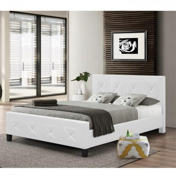 Manželská posteľ s roštom, ekokoža biela, 160x200, CARISA