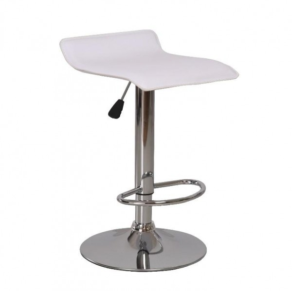 TEMPO KONDELA Barová stolička, ekokoža biela/chróm, LARIA
