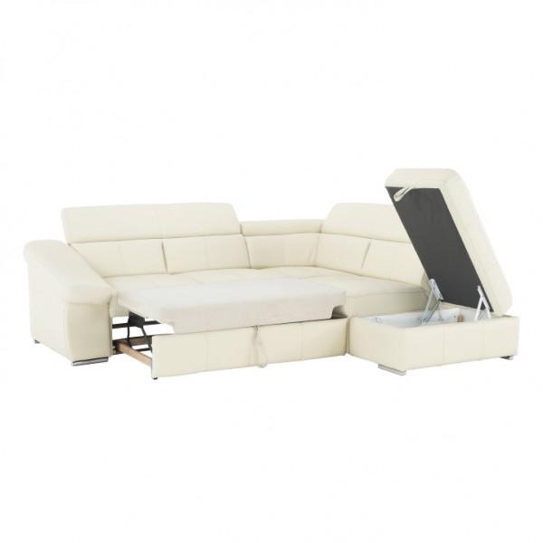 Kožená sedacia súprava, koža YAK M6901 biela, pravá, VARAVO