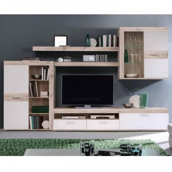 Obývacia stena, dub pieskový/biela, VALERIA