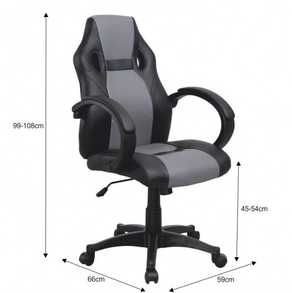 TEMPO KONDELA Kancelárske kreslo, ekokoža čierna/sivá, LESTER