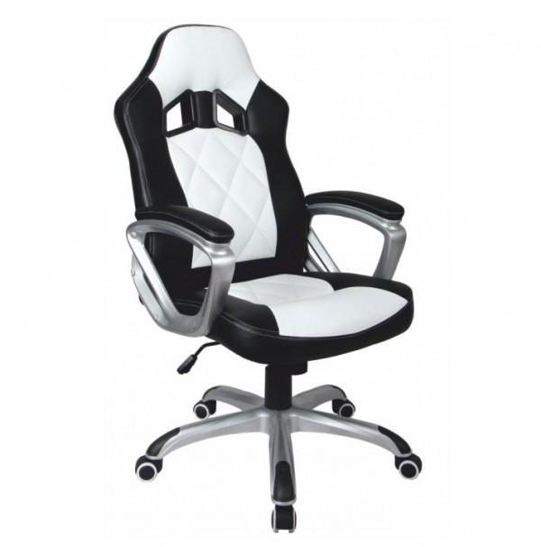 TEMPO KONDELA Kancelárske kreslo, ekokoža čierna/biela, LOTAR