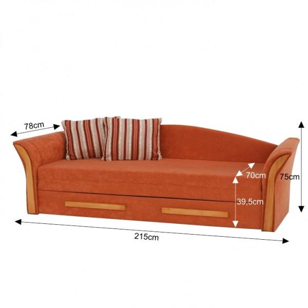 Pohovka, oranžová/pruhovaný vzor/jelša, PATRYK