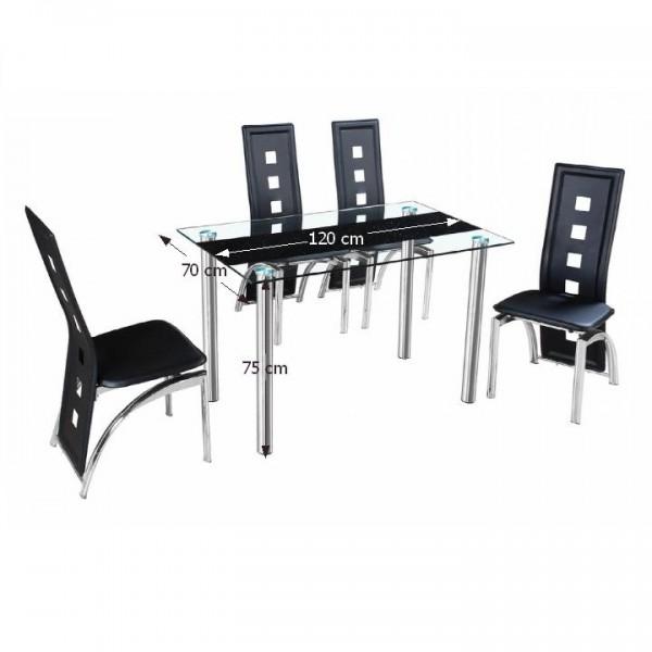 TEMPO KONDELA Jedálenský stôl, oceľ/sklo, ESTER