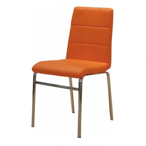 TEMPO KONDELA Jedálenská stolička, ekokoža oranžová/chróm, DOROTY NEW