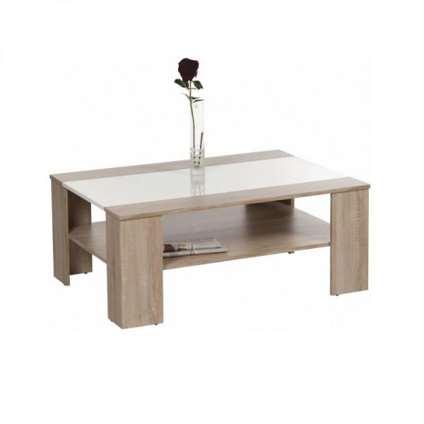 TEMPO KONDELA Konferenčný stolík, dub sonoma/biela extra vysoký lesk HG, ARIADNA