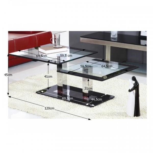 TEMPO KONDELA Konferenčný stolík, čierna/sklo, GABRIEL