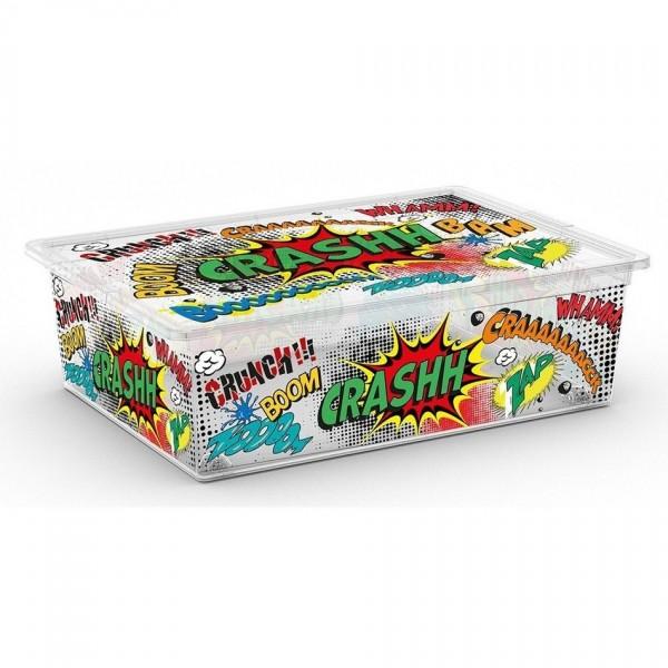 KIS Úložný box C Box Style Comics L, s kolečky - 27l