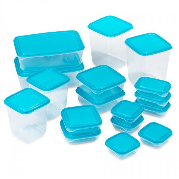 Sada plastových dóz s viečkami, 17 ks, modrá