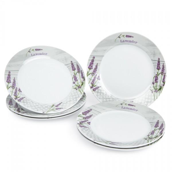 Jedálenský tanier plytký Levanduľa, 6 ks, 23 x 2,5 cm 590878