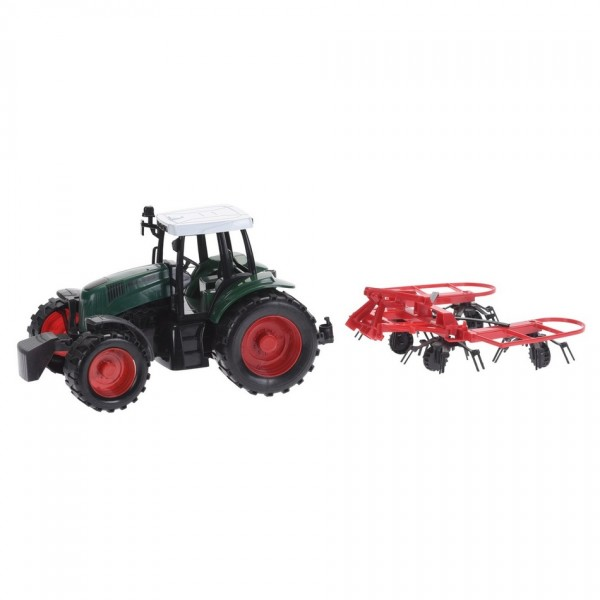 Traktor s prívesom červená, 40 cm