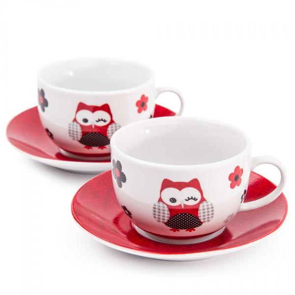 Šálka s tanierikom Červená sova, 2 ks, 250 ml, porcelán