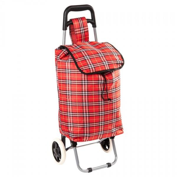 Nákupná taška na kolieskach Kocka červená