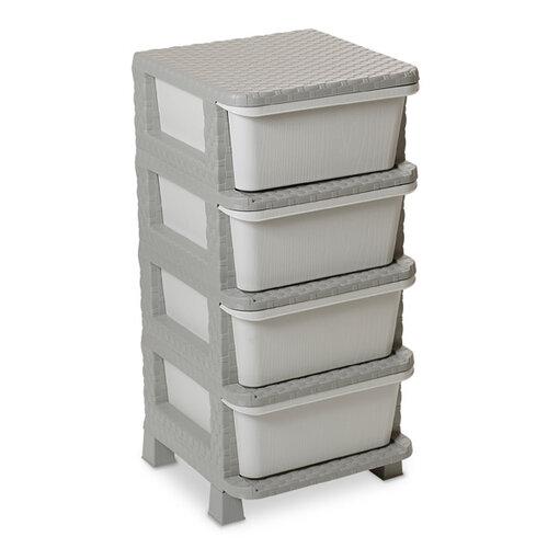 Komoda 4 zásuvky Ratan, sivá