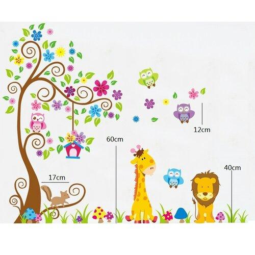 Samolepiaca dekorácia farebný les zvierat,