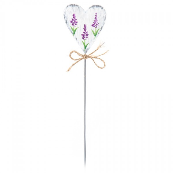 Zápich Levanduľové srdce biela, 29 cm